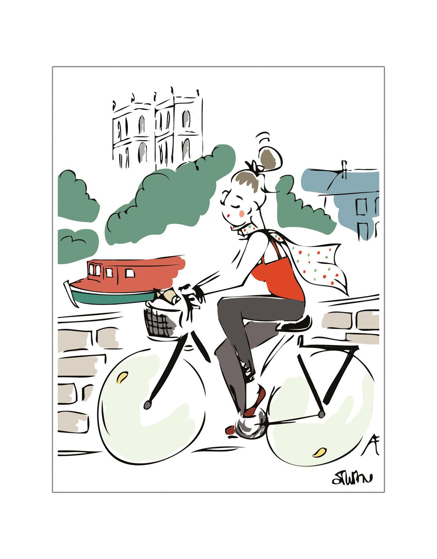 carte postale péniche rennes